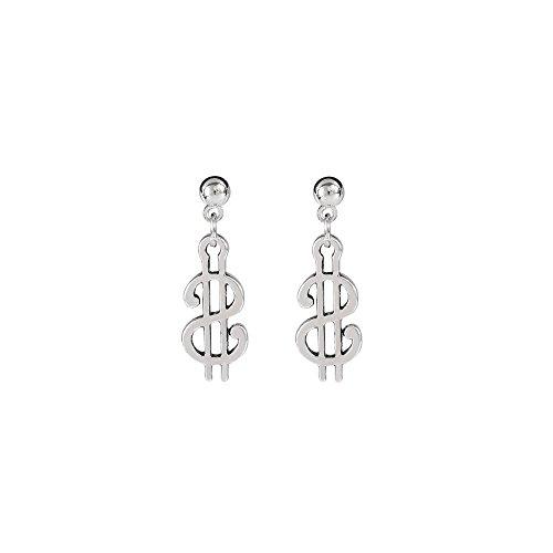 Silver Dollar Symbol Dangle Earring Money Sign Drop Earring Jewelry for Women