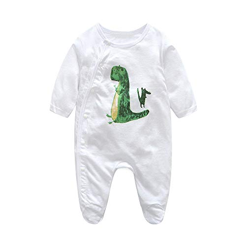 Cute Toddler Baby Clothes, Baby Boy's Girl's Cotton Organic Snap Front Jumpsuit Cartoon Dinosaur Romper White 6-12 Months