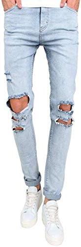 Rawdah Pantalones Vaqueros Hombres Rotos Pitillo Originales