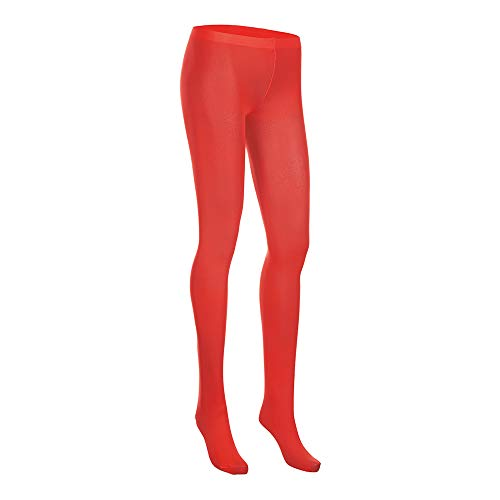 [NovaLava] Womens Semi Opaque 80 Denier Footed Pantyhose Tights Red, One - Women George For Underwear
