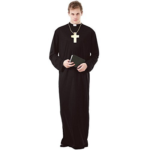 Prayerful Priest Men's Halloween Costume Catholic Cardinal Monk Friar Robes, Brown, -