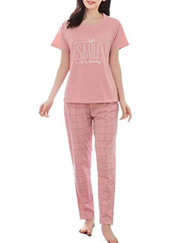 Abbigliamento Con Autunno Primaverile Donne Manica Classiche Corta A Set Pigiama Notte Tasche Donna Indumenti Strisce Rotondo Fashion Collo Pink2 Casa Eleganti Del Pantaloni Da InBq60