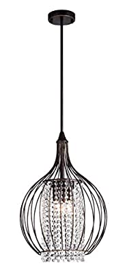 Edvivi 3-Light Antique Bronze Metal Bell Shade Ceiling Fixture with Strands of Crystals | Modern Farmhouse Lighting