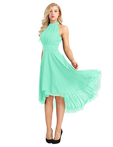 ACSUSS Women's Sleeveless Halter Neck Bridesmaid Dress High Low Evening Prom Flare Dresses Mint Green 8