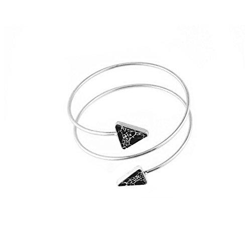Arm Cuff Jewelry (MANZHEN Double Triangle Swirl Upper Arm Cuff Armlet Armband Bangle Bracelet Arrow Bangle Adjustable(Black marble s))