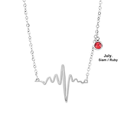 Birthstone Women Necklace Luck Stone Pendant Colar Stainless Steel 8 Styles Gift Femme Collier 1pc