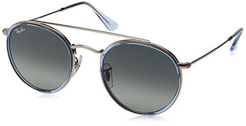 - Ray-Ban RB3647N Round Double Bridge Sunglasses, Blue on Copper/Grey Gradient, 51 mm