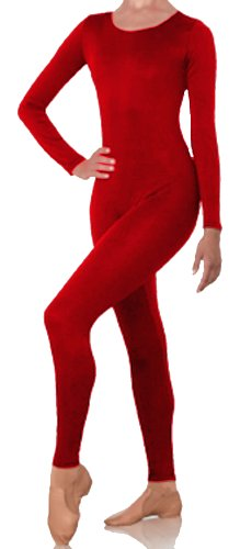 Body Wrappers 217 Unisex Adult Long Sleeve Footless Full Body Unitard Nylon (PETITE ADULT, RED)