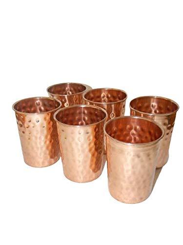 100/% Copper Drinking Glass Cup Tumbler Mug 300 ml Ayurvedic yoga Set of 6 Mug