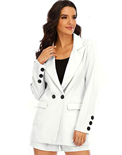 DYMADE Women's Blazer Long Sleeve Open Front Vest and Shorts Outfit Suit Set