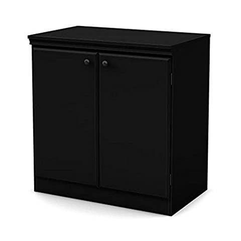 Pure Black 2 Door Storage Cabinet - Close Damper Pull