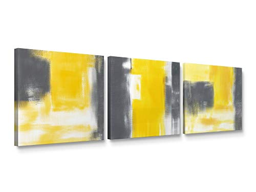 - Niwo Art-Grey and Yellow, Abstract Series Canvas Wall Art Home Decor,Stretched Ready to Hang