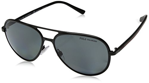 Polo Ralph Lauren Men's Metal Man Polarized Aviator Sunglasses, Semishiny Black, 59 - Polo Aviator Sunglasses