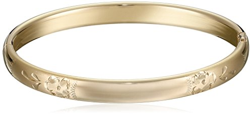 14k Yellow Gold-Filled Children's Hand Engraved Guard and Hinge Bangle Bracelet