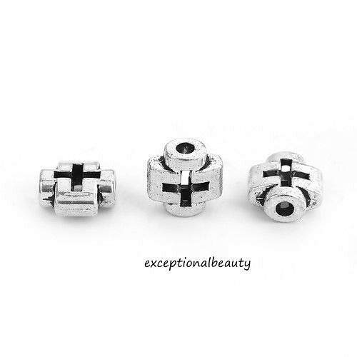 Silver 8mm Flat Criss Cross Cutout Two Side Spacer Beads ()