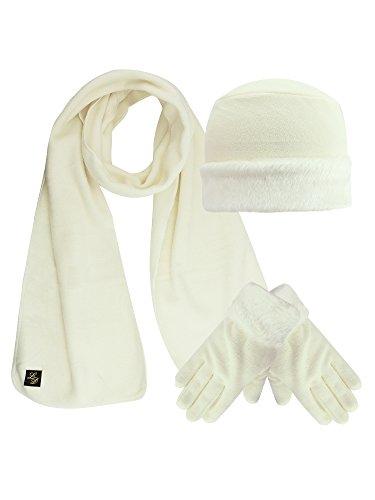 Ivory White Plush Fur Trim Fleece 3 Piece Hat Scarf & Glove Set