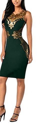 Mujer Vestidos De Fiesta Cortos Elegantes De Noche Vintage Dorados Encaje Splicing Ajustado Sin Mangas Fashion Vestidos De Fiesta Coctel Vestido Corto Vestir Verano Verde