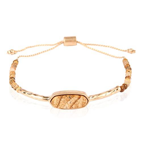 Natural Stone Bolo Bracelet - Semi Precious Healing Gemstone Chakra Beaded Friendship Slide Adjustable Cuff Bangle Faceted Jewel, Oval, Plus Size (Oval Natural Stone Bracelet - Brown Jasper)