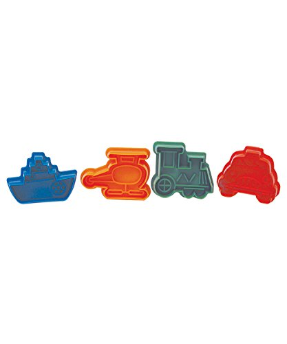 R M International 491 Pastry Cookie Fondant Stamper 2 Inch Transportation Theme