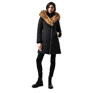 Mackage Trish Mid-Length Down Coat – Women's, Black/Natural Fur, Large, Trish-R-Black-L