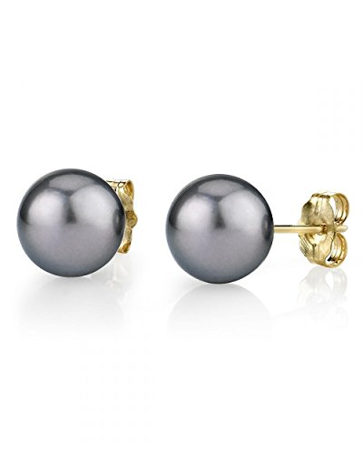 14K Gold 8-9mm Silver Tahitian South Sea Cultured Pearl Stud Earrings - AAA Quality by The Pearl Source