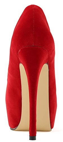 CFP YSE-817-1RB Womens Shallow Mouth Seasonless Leisure Lightweight Sweet Dating Office Wedding Party Cozy Spotlight Stiletto High Heel Pretty Shoes Thick Platform Round Toe Red rKzLx