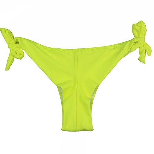 EONAR Mujer Braguita De Bikini Con Lados Cheeky Brasileños Tangas Amarillo