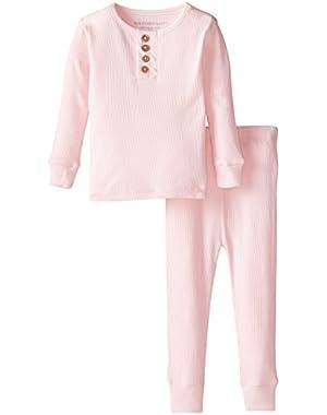 Baby Girls' Organic Henley Pajama Tee and Pant Set, Blossom