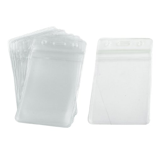 uxcell 10 Pcs Soft Plastic Vertical Business ID Card Badge Holders Soft Badge