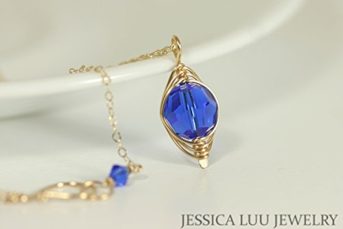 Gold Cobalt Blue Necklace with Majestic Blue Swarovski Crystal Pendant Wire Wrapped Yellow or Rose Gold - Necklace Majestic Set