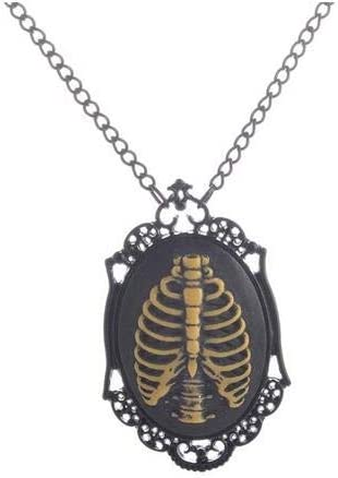 Inveroo Bone Pattern Oval Pendant Steam Punk Gothic Jewelry Necklace