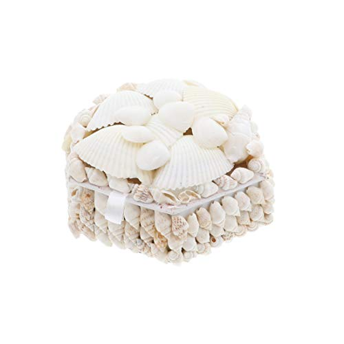 Li'Shay White Seashell Covered Jewelry Trinket Box Treasure Box - 4 Inch - Hexagon