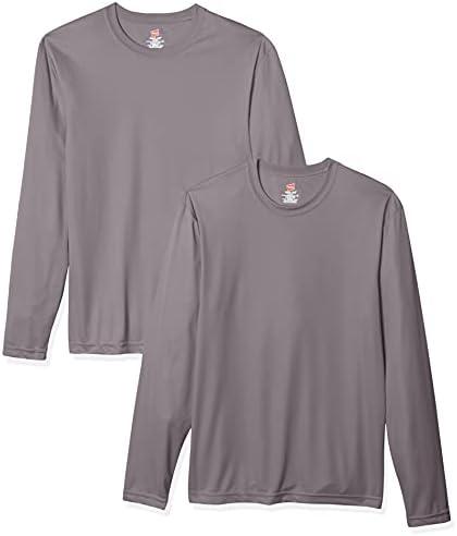 Hanes Men's Long Sleeve Cool Dri T-Shirt UPF 50+ (Pack of 2)