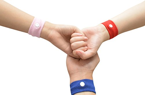 Pair of Acupressure Anti-nausea Motion Sickness Relief Wristbands (Red) ★ Great for Controlling Nausea Due to Morning Sickness, Motion Sickness or Chemotherapy ★ 8 Colors ★ Nausea Relief Bracelet