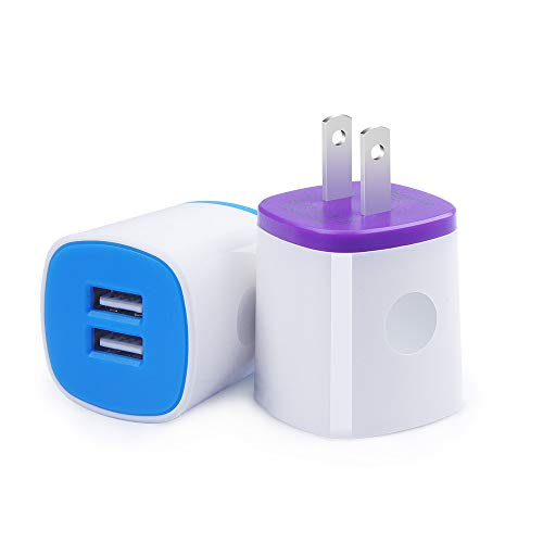 Charger Brick, Charging Block Fast Charge, 2Pack AndHot Dual Port USB Wall Charger Power Adapter Compatible for iPhone Xs Max/XR/X/8/7/6 Plus iPad Samsung Kindle, Android Phone Charger Plug Cube Box (Usb Wall Charger For Kindle Fire)