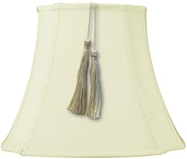 7x12x12 French Oval Piped Tassel Lampshade, Eggshell Shantung Fabric