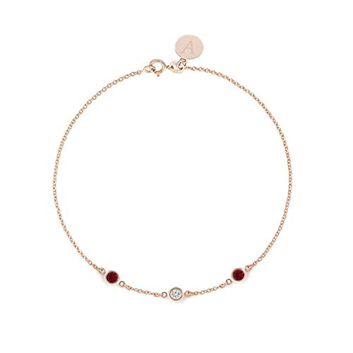(TousiAttar Diamond and Ruby Bracelet - Bezel set - Solid 14K or 18K Gold - Natural Stone - Elegant Jewelry Gift for Girlfriend - Delicate April and July Birthstones - Free Engraving)