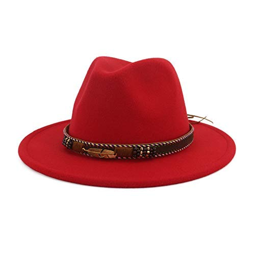 Vim Tree Men Women Ethnic Felt Fedora Hat Wide Brim Panama Hats with Band Red M (Hat Circumference 22