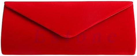 Jagenie - Bolso de mano de terciopelo para mujer, color rojo
