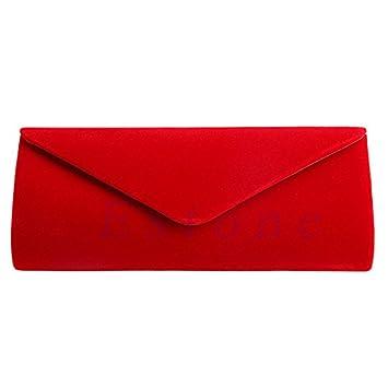 Lamdoo Elegant Ladies Velvet Clutch bolso de noche bolso de la boda Prom Party bolso (rojo): Amazon.es: Hogar