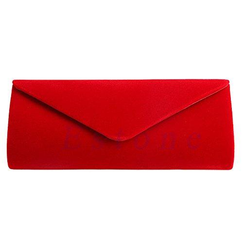 Party Ladies Bag Evening Elegant Velvet Envelope Red Prom Lamdoo Bag Wedding Red Clutch Handbag nTHSqxwv