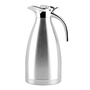 EgoEra Stainless Steel Double Walled Vacuum Insulated Jugs, Tea Water Coffee Thermal Carafe / Insulation Pot / Coffee Pot / Cafetiere Jug / Water Pitcher with Handle and Spout (2L)