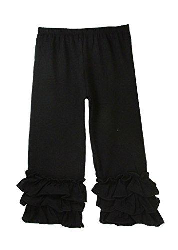 Dress Up Dreams Boutique Little Girls Waterfall Ruffle Cuff Pants - Black -