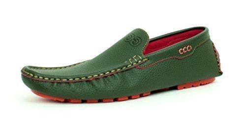hombre nuevo Mocasines Sin Cordones De Estilo Informal Zapatos De Conducción Mocasin Diseño Italiano Talla GB Caqui