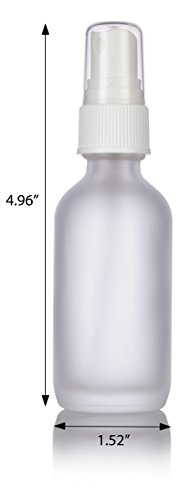 2 oz Frosted Clear Glass Boston Round White Fine Mist Spray Bottle (24 pack) + Funnel and Labels for essential oils, aromatherapy, food grade, bpa free by JUVITUS (Image #1)
