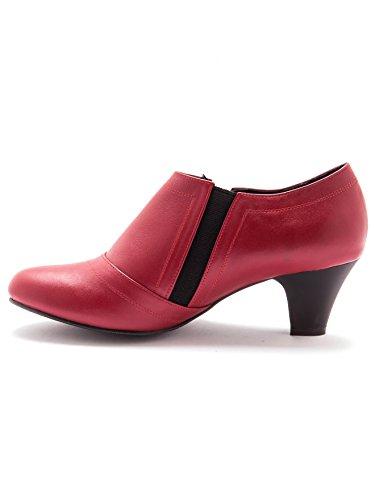 Boots En Confort Rouge Largeur Zippées Cuir Pediconfort 7fZBv