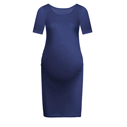 Mini Bodycon Maternity Dress Women Casual Short Sleeve Fitted Ruched Stretch Pregnancy Baby Shower Dress Knee Length Navy -