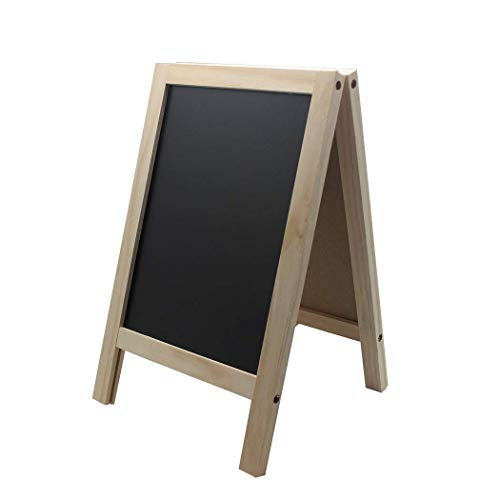 BangQiao 7.40 Inch W x 11.8 Inch L Small Free Standing Wooden A Frame Double Sided Chalkboard for Tabletop Menu Board, Wedding Message Sign]()
