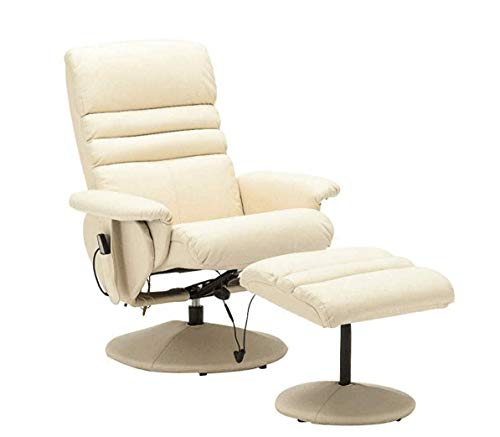(Mcombo Electric Faux Leather Recliner Chair and Ottoman Swivel Gaming Massage Chair with Wrapped Base Remote Control, Swivel Seat 7902 (Creme White))