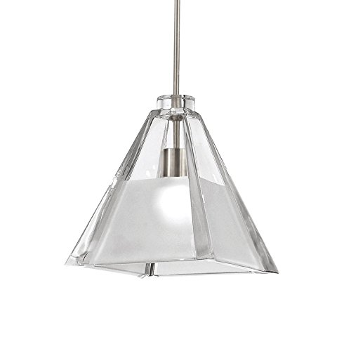 WAC Lighting MP-915-CF/BN Tikal 1-Light Mini-Pendant, Brushed Nickel Finish with Clear Frosted Art Glass (Rail Monopoint Connector)